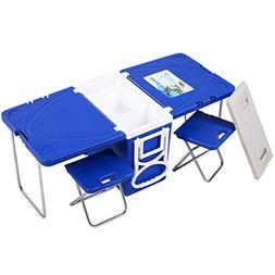 GJH One Rolling Cooler Picnic Table Multi Function Food Beve