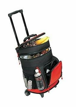 Travel5.0 4013RED Deluxe Ripstop Beach Picnic Rolling Cooler