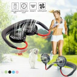 USA Portable USB Rechargeable Fan Air Cooler Dual Head Neck