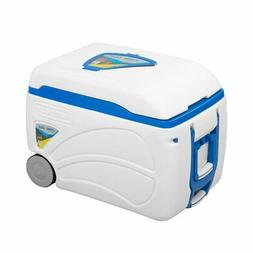 Voyager Portable White Ice Cooler on Wheels 47qt Food Bottle