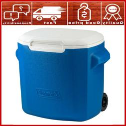 Coleman Wheeled Cooler, Blue/White, 28 Quart