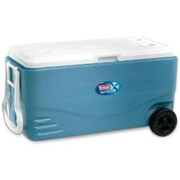 Wheeled Cooler 100-qt. Hinged Lid with Deep Beverage Holders