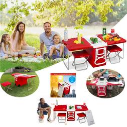 Wheeled Cooler Picnic Foldable Camping W/Table & 2Chairs Out