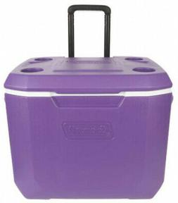 Ice Chest Cooler With Wheels 50-Quart Purple Heavy-Duty Tele
